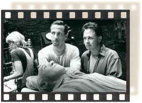 Producer Clive Barker and Director Bill Condon confront a temporarily empty-headed Ian McKellen on the set.