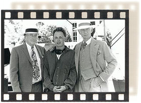 "Curtis Harrington (Director of numerous '60s thrillers), Bill Condon, and Ian McKellen on the ""Cukor"" set."
